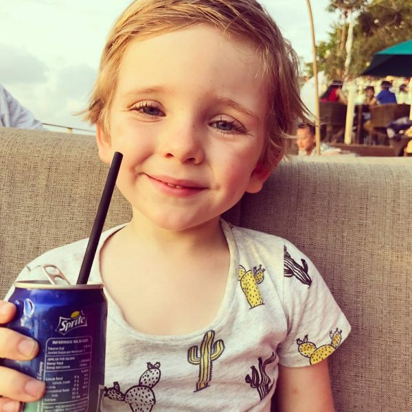 Noah Byrne Having a Lemonade in Bali. Louise DeCelis Breast cancer Blog