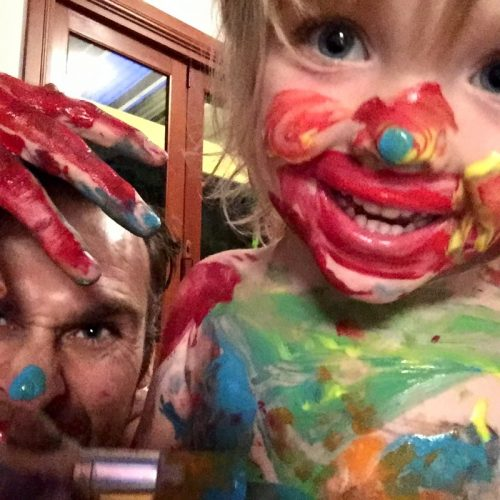 Dominic Byrne and Noah Playing With Paint