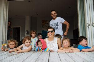 Louise DeCelis and all the young ones at the table on Evies fourth birthday