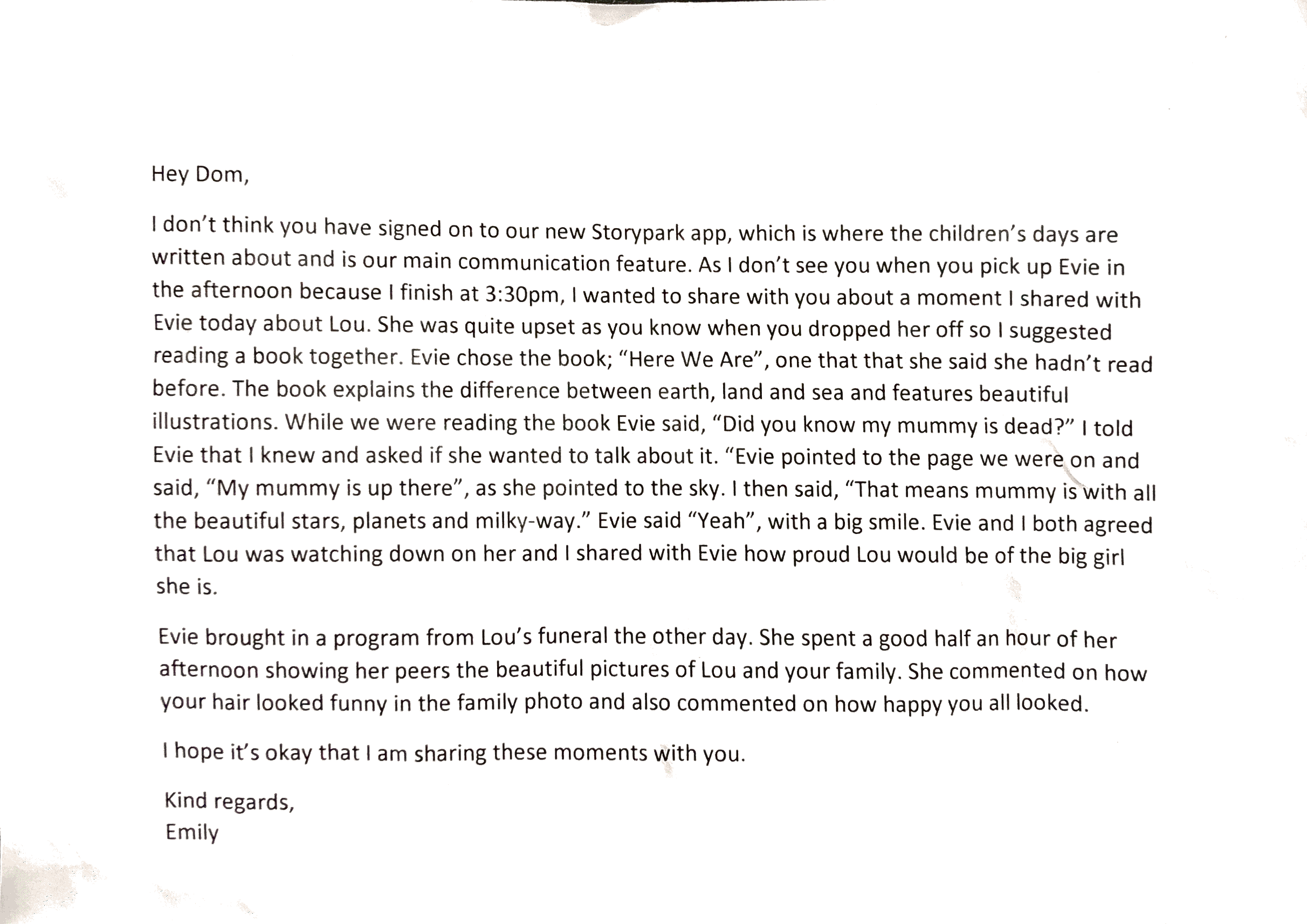 letter from evies teacher, Emily