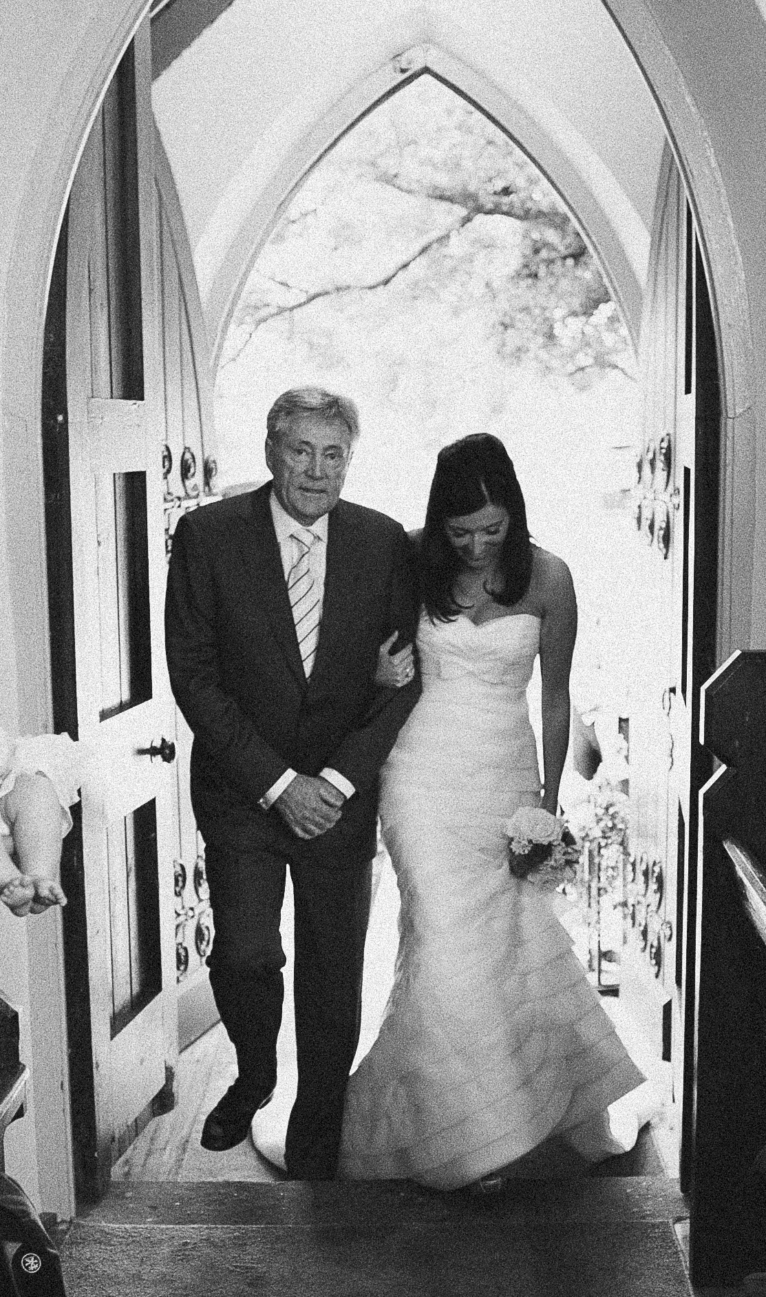 Louise's Dad, Les Decelis, walks Lou down the isle at wedding